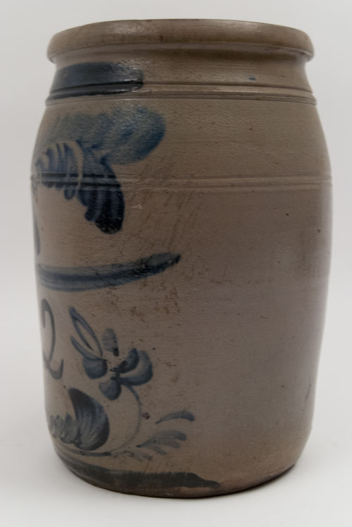 Antique Stoneware Blue Decorated Morgantown West Virginia Pottery For Sale