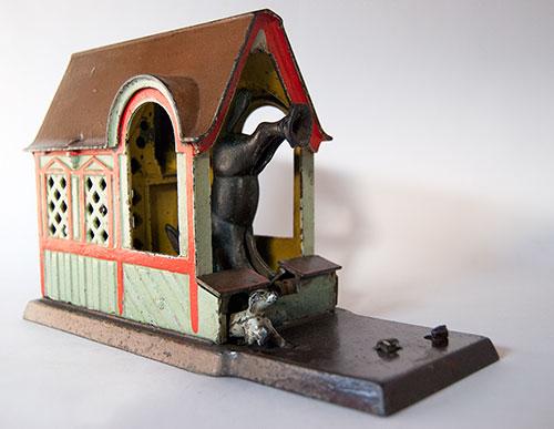 Mule Entering Barn Antique Mechanical Cast Iron Bank
