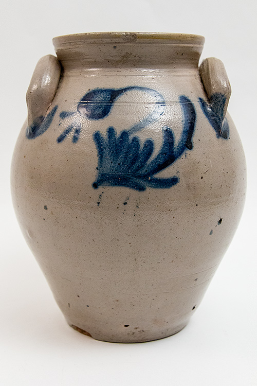 N. Clark and Sons, New York, Cobalt Blue Decorated 1 Gallon Ovoid Jar