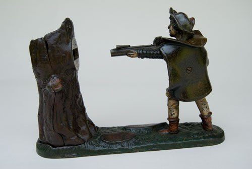 Antique 19th Century New Creedmoor William Tell Mechanical Bank For Sale