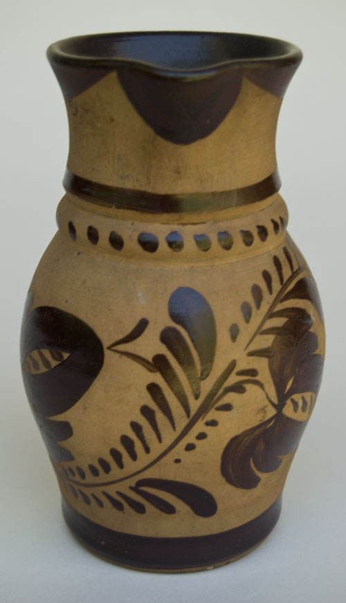 New Geneva PA Highly Decorated 7 Inch Tanware Pitcher For Sale: Pennsylvania Brown Paint Decorated Flower Design Tourist Pottery