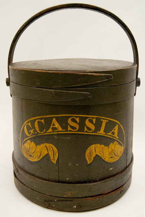 Antique American Country Primitive Hand Painted Green FIrkin labeled G. Cassia Large Store Spice Container