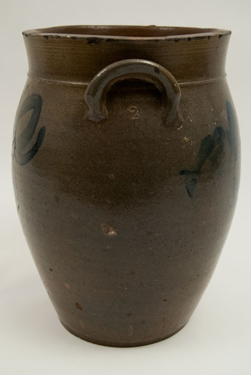 Cobalt Blue Decorated Beaver County PA Salt Glaze Stoneware Jar with Freehand Decoration