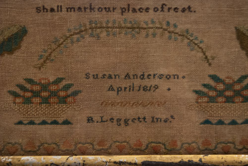 Antique American Sampler Rare Important Schoolgirl Needlework New York Female Association School 1819 Early 19th Century