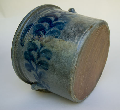 Rare American Blue Decorated Stoneware For Sale: Beaver County Pennsylvania Cobalt Decorated 3 Gallon Cake Crock