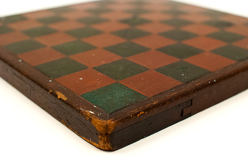Antique Arts and Crafts Mission Style Folk Art American Gameboard with Original Paint Decorated Surface