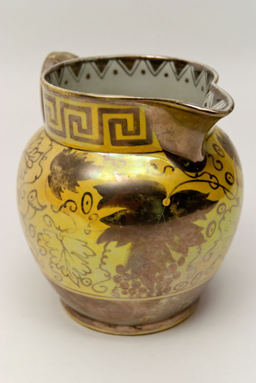 Canaryware Pitcher with Greek Key Border and Grapevine Decoration For Sale