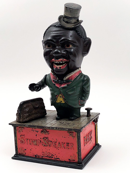Stump Speaker Antique 19th Century Original Cast Iron Painted Mechanical Bank For Sale Black Americana