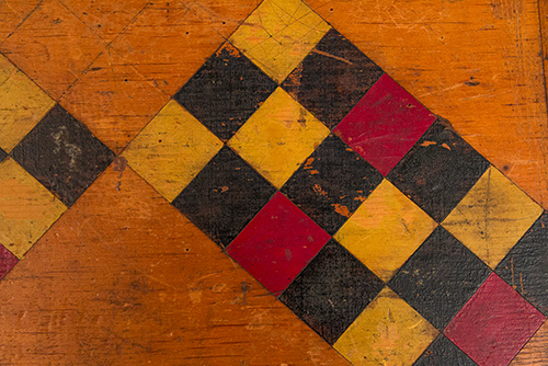 Folk Art Antique Gameboard Red Yellow Black Parcheesi Original Paint 19th Century American Antiques for Sale