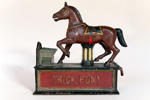 Trick Pony Antique Cast Iron Mechanical Bank in All Original Paint