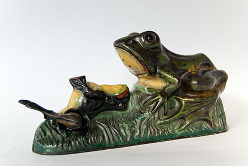 Two Frogs Antique Cast Iron Mechanical Bank in All Original Paint