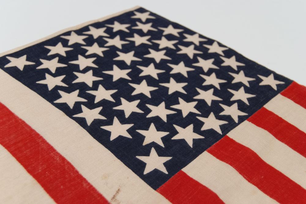 1896 antique american flag 45 star medallion pattern parade flag