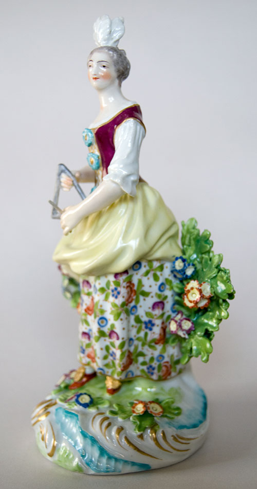 18th Century Antique Bow Hard Paste Porcelain Figure Of
