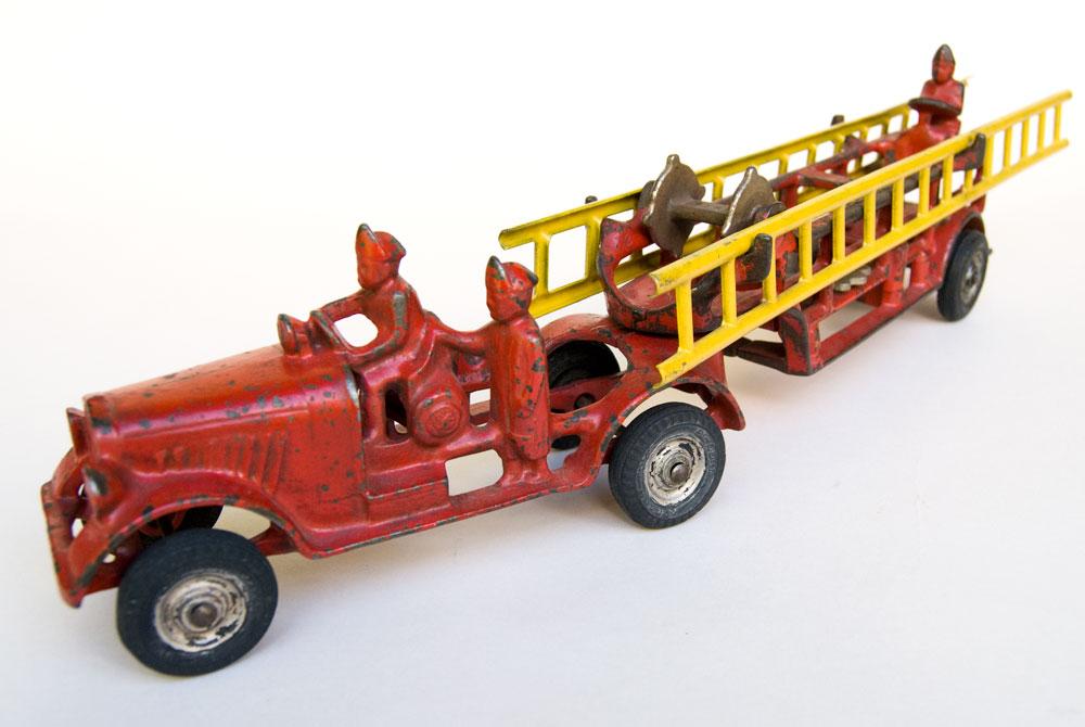 Antique Cast Iron Fire Truck Original Red Paint Hubley For