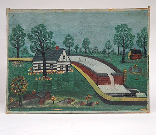 19th Century folk art painting, oil on canvas, primitive log cabin and swans, pennsylvania origins, vivid colors