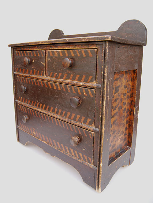 19th Century Folk Art Paint Decorated Childs Chest | New England Antique American Furniture