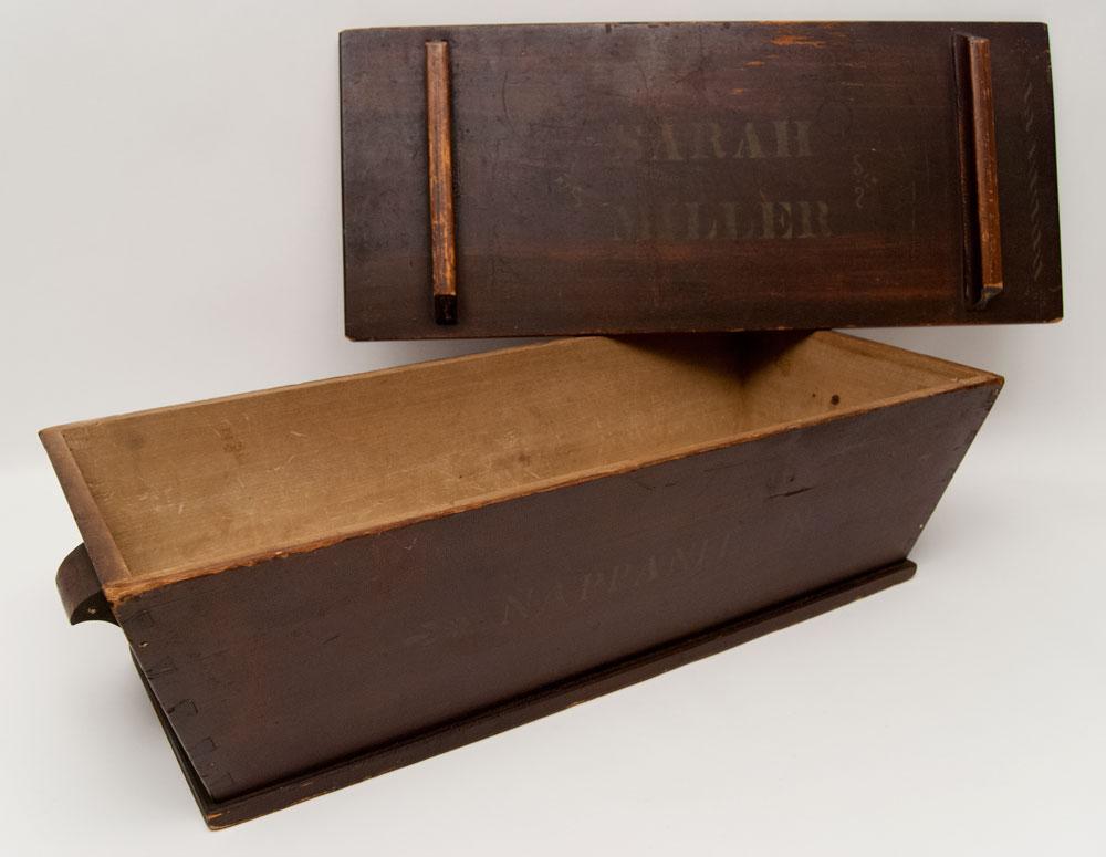 Antique American Folk Art Old Order Amish Dough Box Original Paint  Decoration Signed Sarah Miller Nappanee