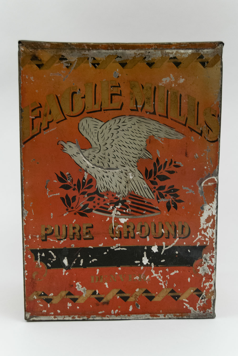 Eagle Mills Antique American Store Tin With Red Gold