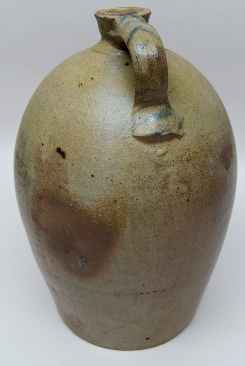 Large Antique Ovoid Stoneware Jug with Blue Freehand