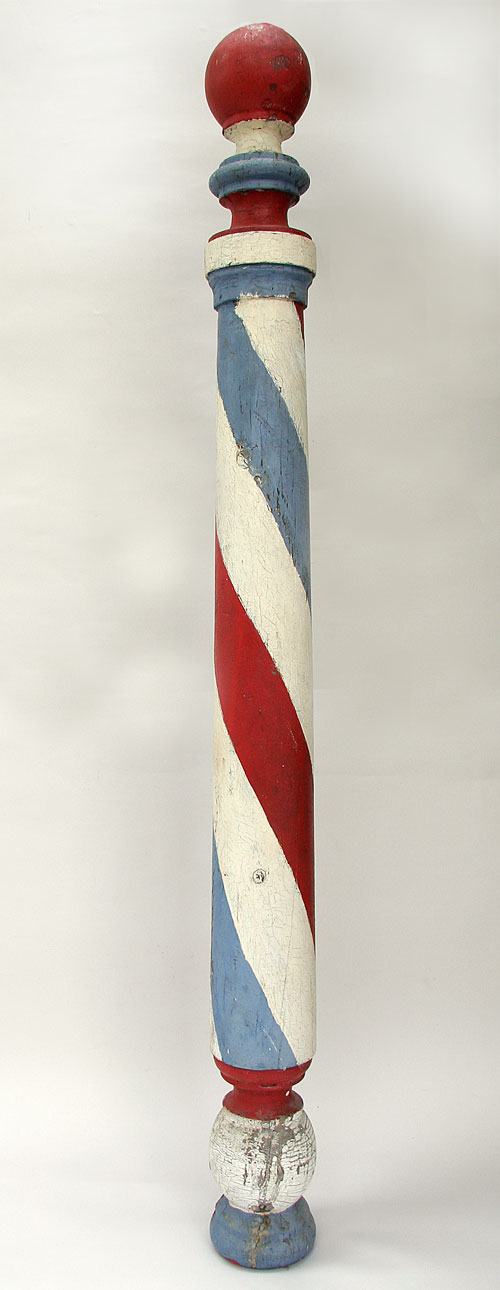 Antique Painted Americana Wooden Barber Pole Trade Sign