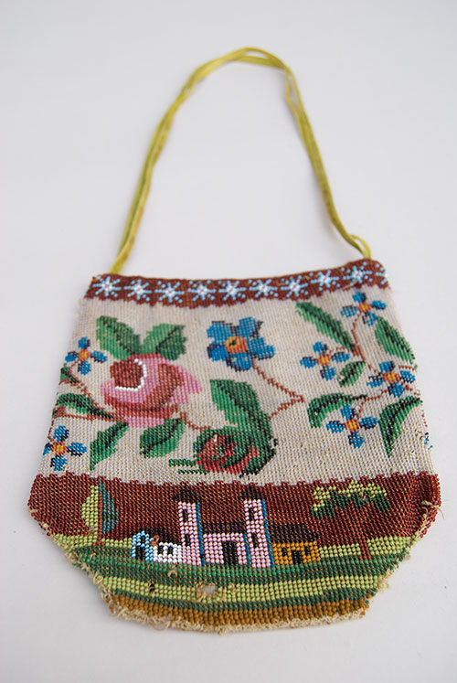 19th Century Antique American Microbeaded Purse Reticule