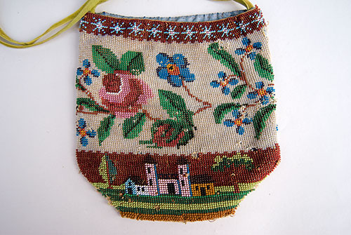 19th century antique beaded folk art purse