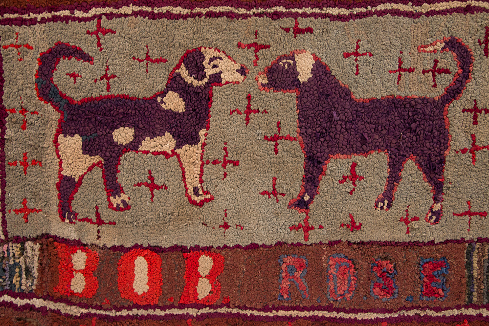 Folk Art Antique American Hooked Rug of Dogs Named Bob and Rose