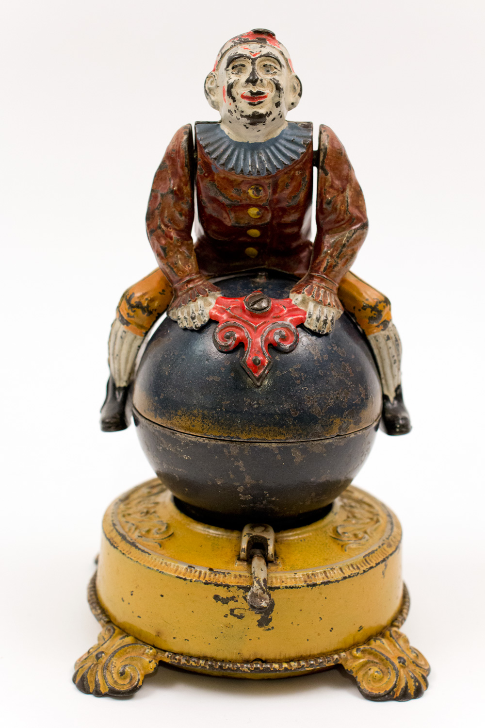 Cast Iron Clown On Globe Bank