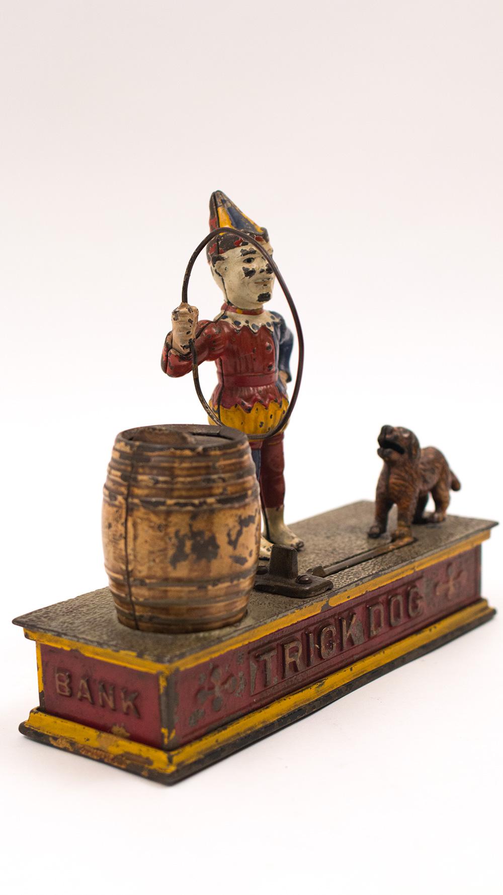 Cast Iron Paint >> Antique Trick Dog Mechanical Bank