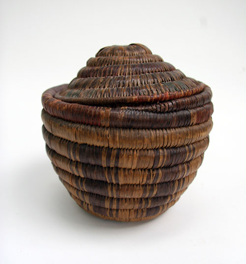 Native American Indian Lidded Seed Basket