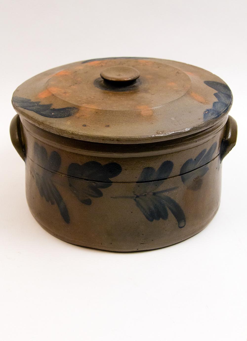 One Gallon Lidded Blue Decorated Stoneware Cake Crock Salt
