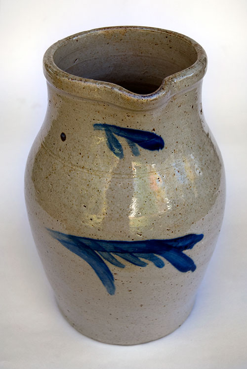 Thomas Haig Philadelphia Pennsylvania Two Gallon Blue Decorated Salt Glaze Decorated Stoneware Pitcher