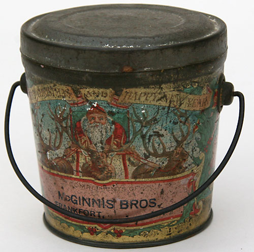 Tins on pinterest vintage tins tea tins and vintage coffee for Christmas tin pails