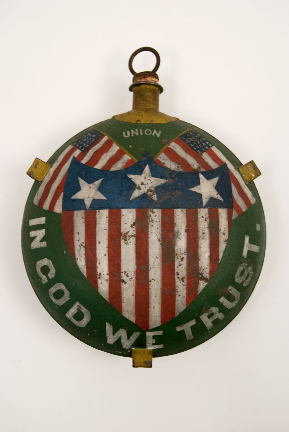 Antique Civil War GAR Canteen with Patriotic Flags and Original Paint Decoration