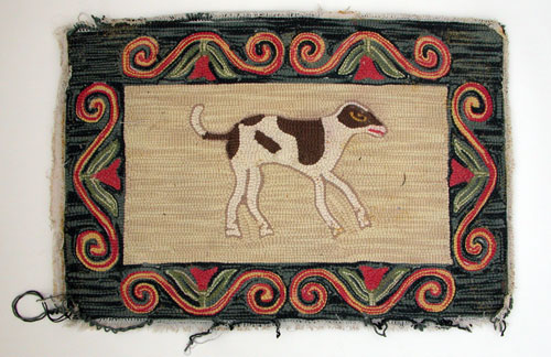 Early American Spotted Dog and Red Tulip Border Vintage Antique Hooked Rug