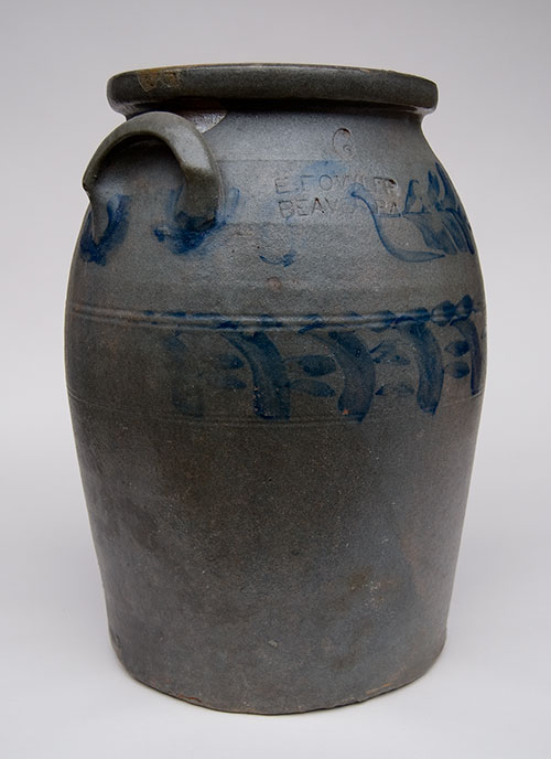 E. Fowler | Beaver County Pennsylvania | 6 Gallon Blue Decorated Salt Glazed Antique Stoneware Churn