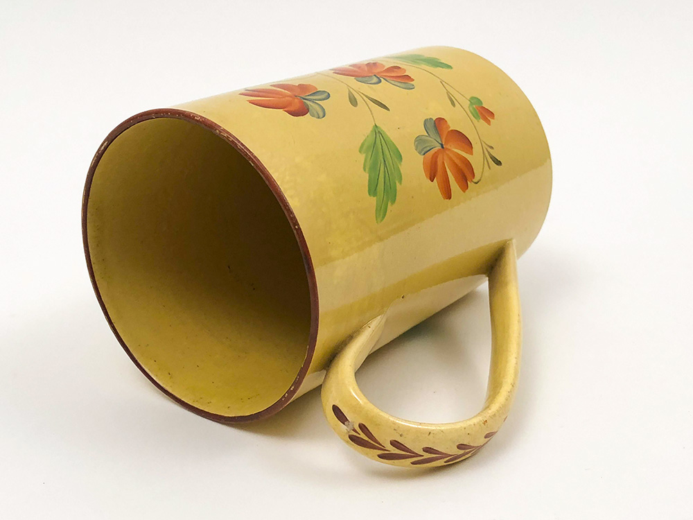 Hand Painted English Canaryware Tankard Made for the American Market