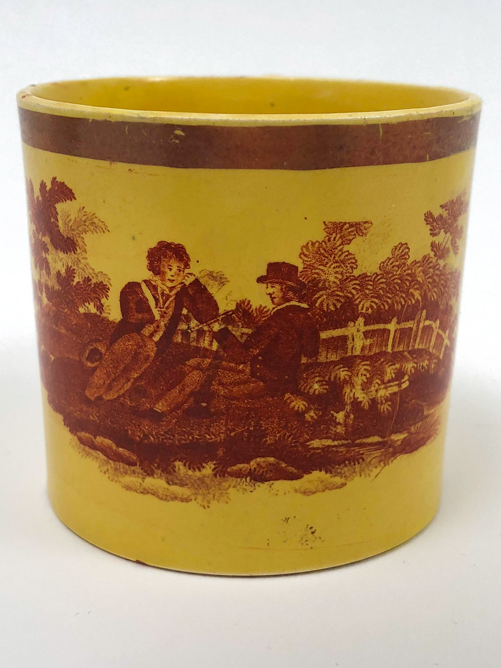 Antiqe Canaryware Transfer Decorated Yellow Mug with Pastoral Romantic Scene of Two Gentlemen For Sale From Z and K Antiques