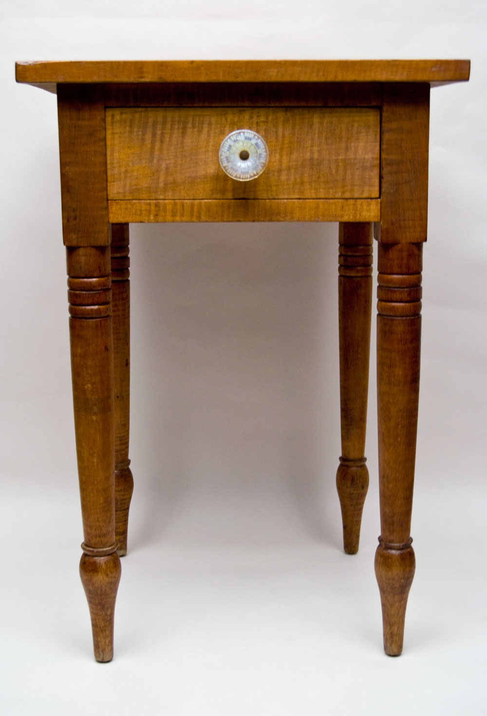 Antique American Tiger Maple Work Table One Drawer Stand Turned Legs - 19th Century Antique Early American Tiger Maple One Drawer Stand
