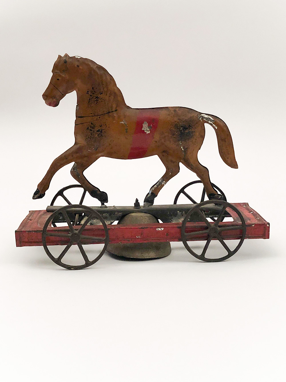 Fallows Antique Early American Tin Toy Painted Horse Bell Pull Articulated 1880s