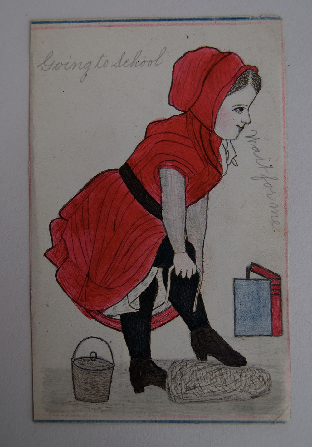 Folk Art Drawing Schoolgirl Going to School Antique Pen and Ink