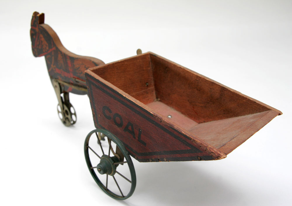 ... Antique American Horse with Coal Wagon Tin Litho and Wood Antique Toy