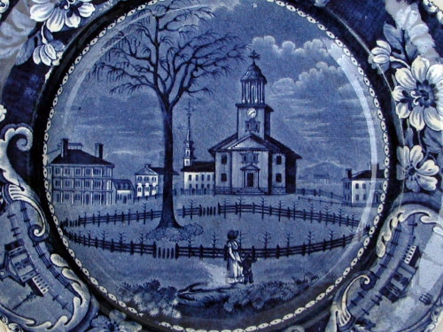 Historical Staffordshire: American Scenes: Winter View of Pittsfield Mass