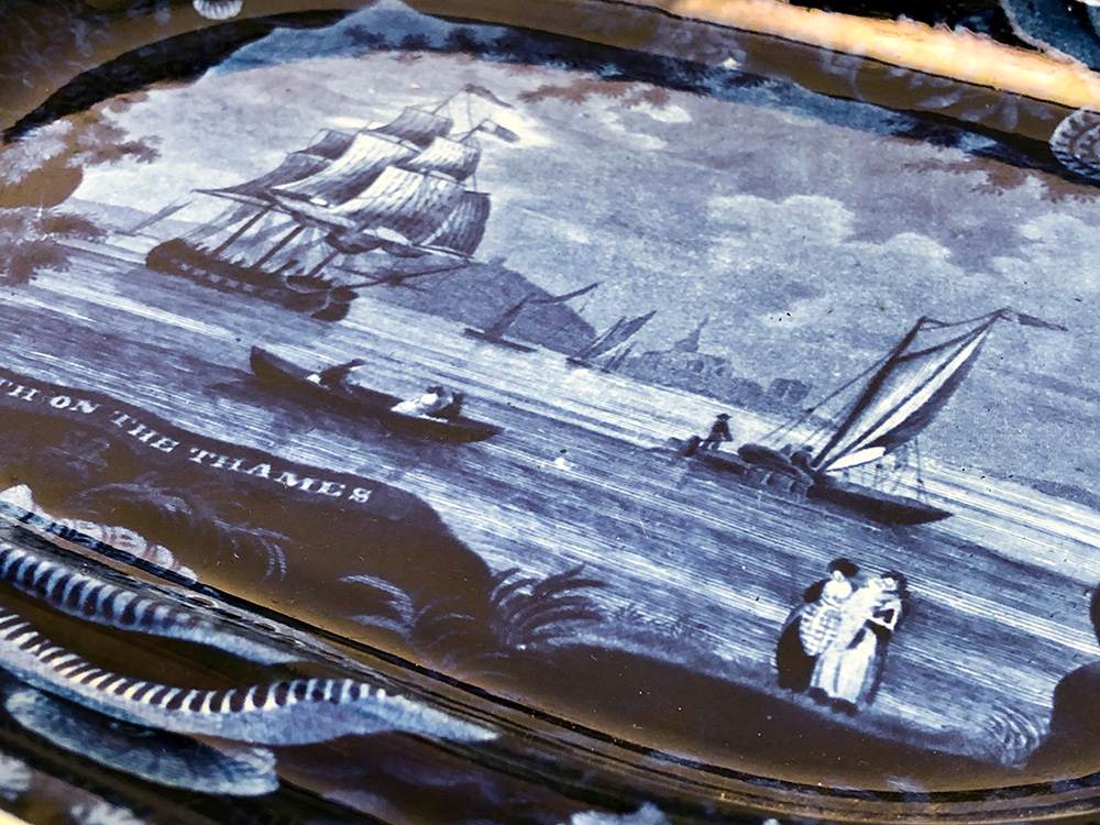 Wood and Sons Burslem Erith on the Thames Historical Staffordshire Platter For Sale From Z and K Antiques