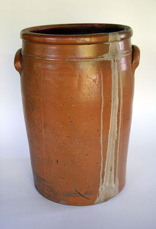 12 Gallon Jane Lew, WV Storage Jar: Large Blue Decorated Stoneware