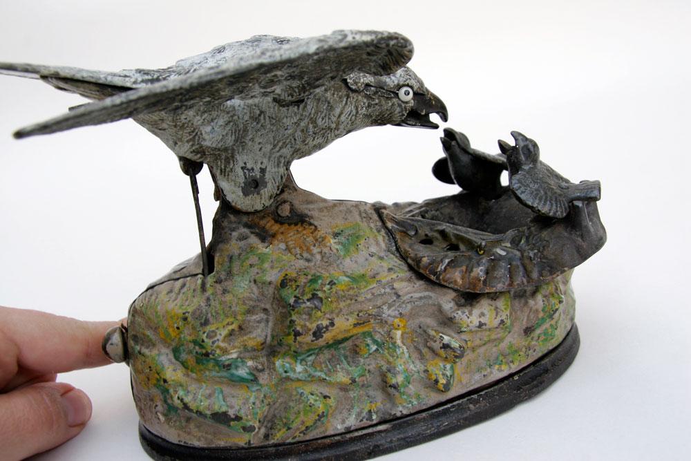 Cast Iron Paint >> Eagle and Eaglets Mechanical Bank