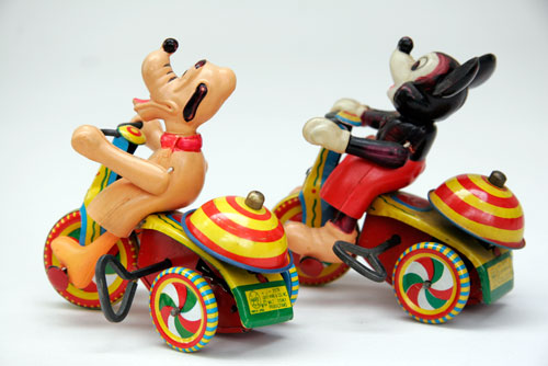 Mickey Mouse and Pluto Tricycle Tin Wind Up Linemar Antique Toys