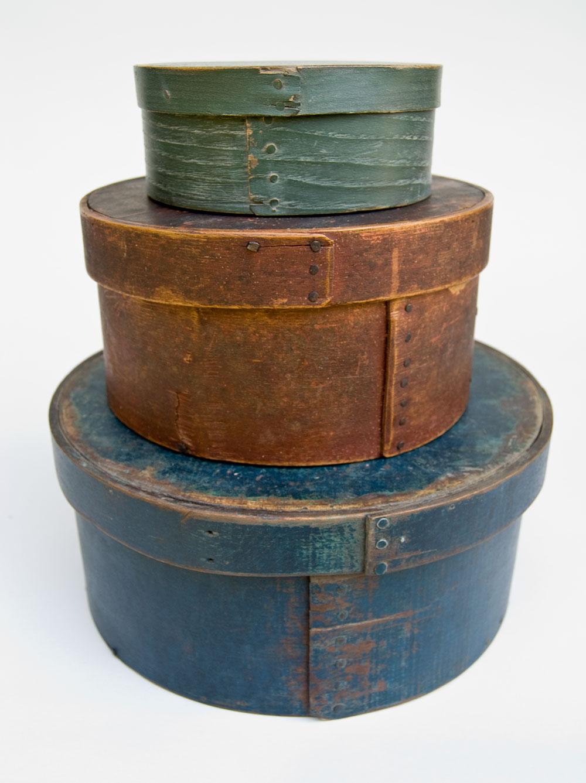 Original Green Painted Round Antique Pantry Box