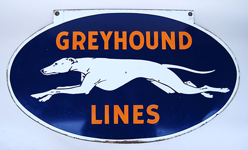 Antique Original Double Sided Porcelain Greyhound Lines ...