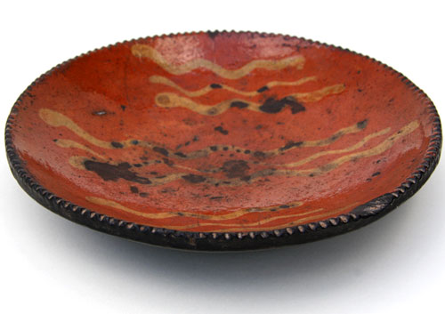 Redware Slip Decorated Plate: Antique SE Pennsylvania Redware